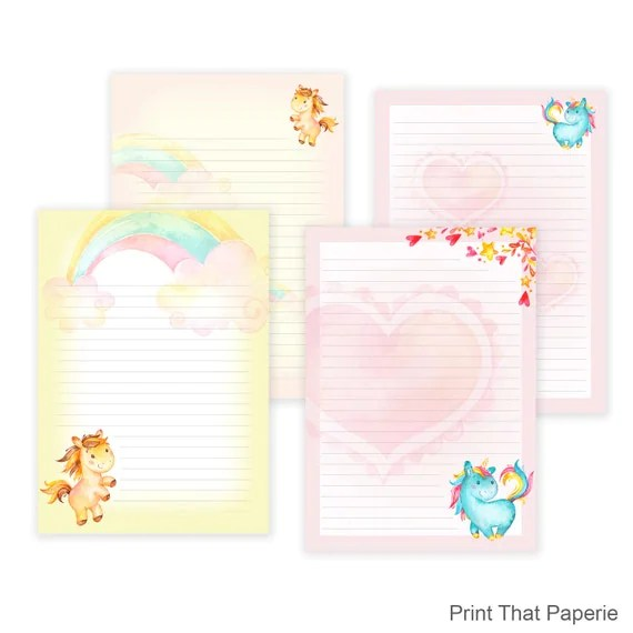 Unicorn Printable Writing Paper - Stationary Paper - Letter Writing - print writing paper