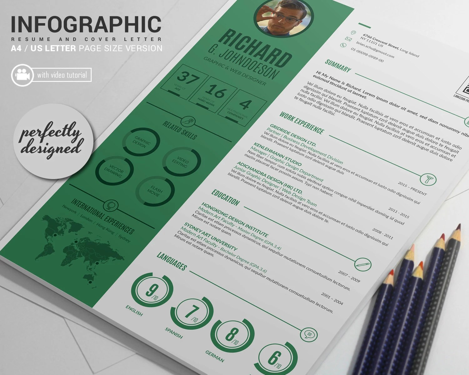 gridride - Professional Resume Template and Cover Letter, Word and