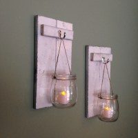 Wooden Candle Holder Mason Jar Wall Sconce Rustic by CoveDecor