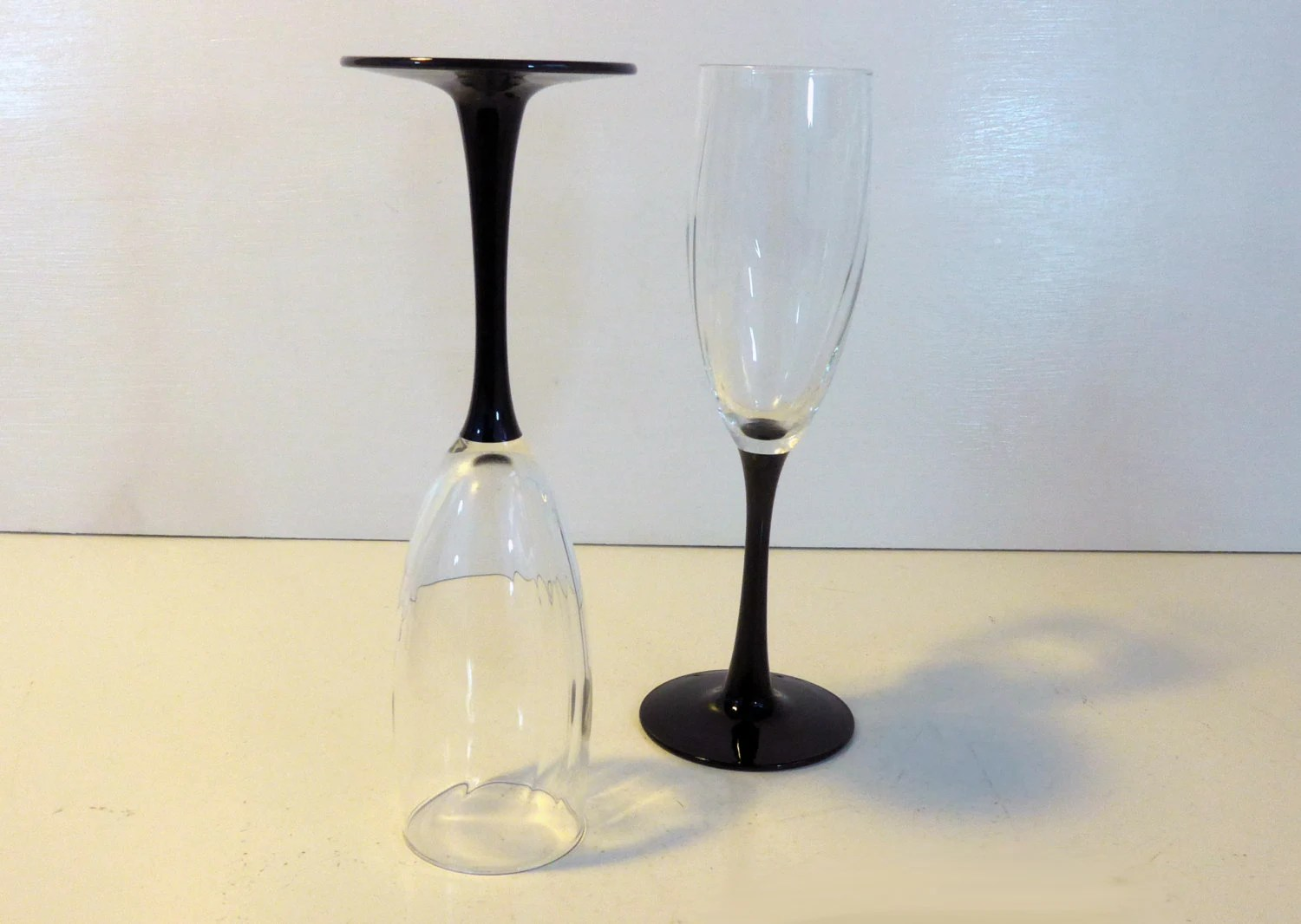 Wine Glasses With Black Stems Champagne Flutes Pair Wine Glasses 2 Luminarc France