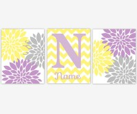 Girl Nursery Wall Art Yellow Purple Lavender Flower Burst