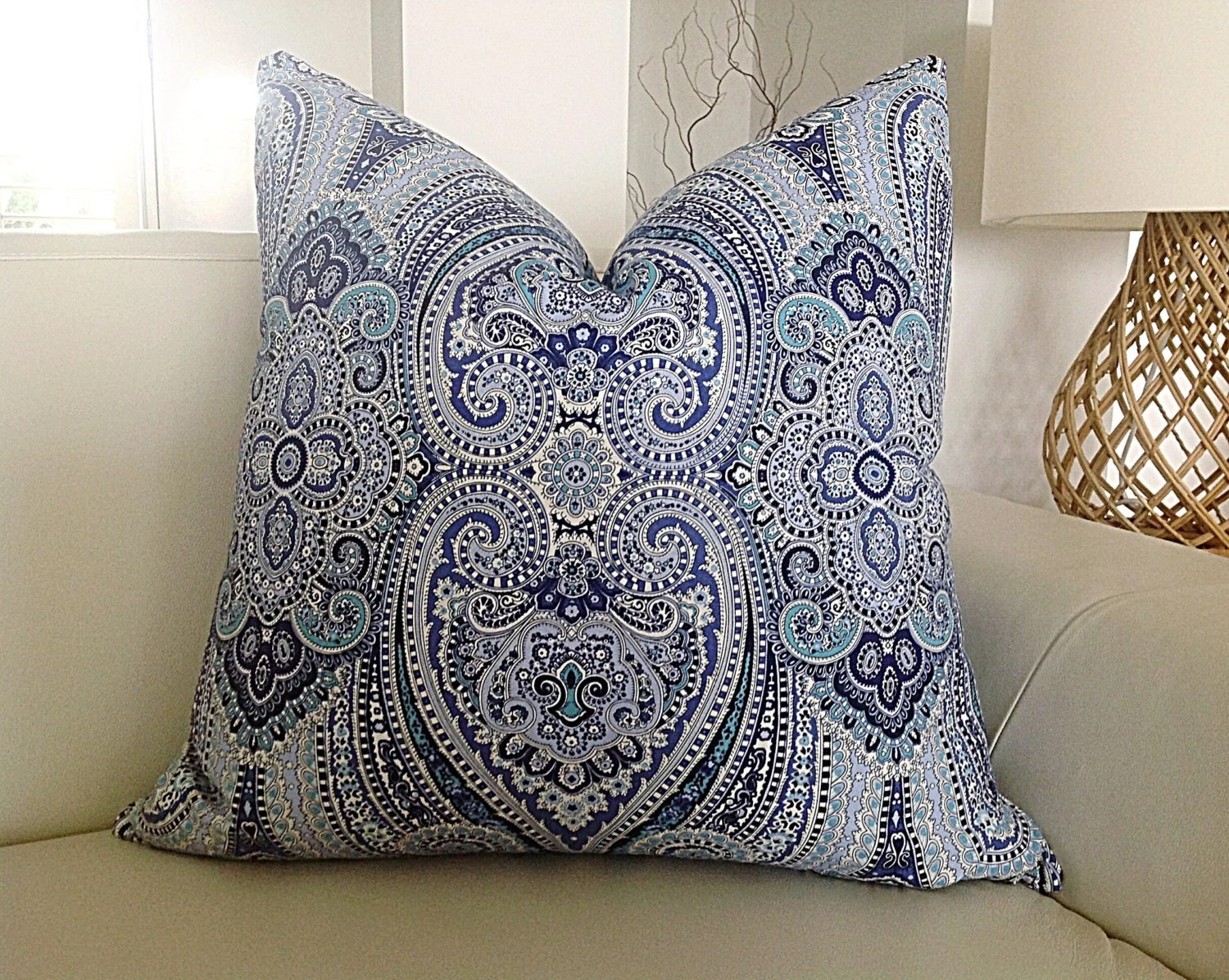 Boho Cushions Australia Cushions Paisley Pizzazz Boho Cushion Cover Blue And White