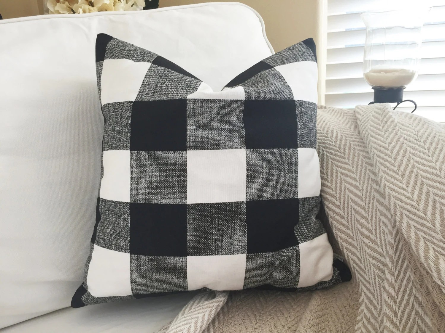 Black Buffalo Plaid Pillow Cover Black and by