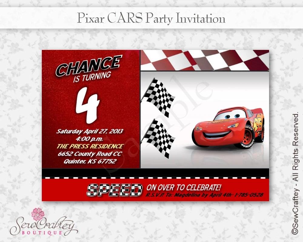 Pixar Cars Birthday Invitation 4 X 6 Disney Personalized