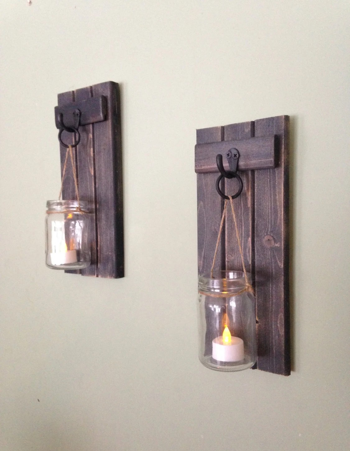 Kerzenhalter Für Wand Wooden Candle Holder Rustic Wall Sconce Mason Jar Candle