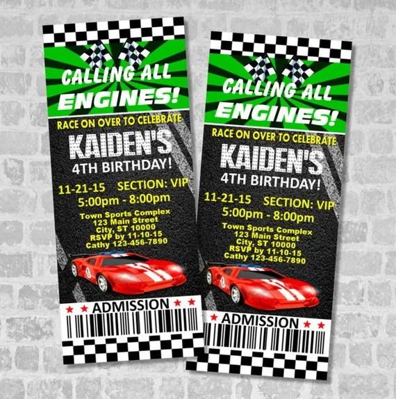 Race Car Birthday Party Ticket Invitation, Custom Racing Party