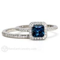 London Blue Topaz Engagement Ring Wedding Band Bridal Set 14K