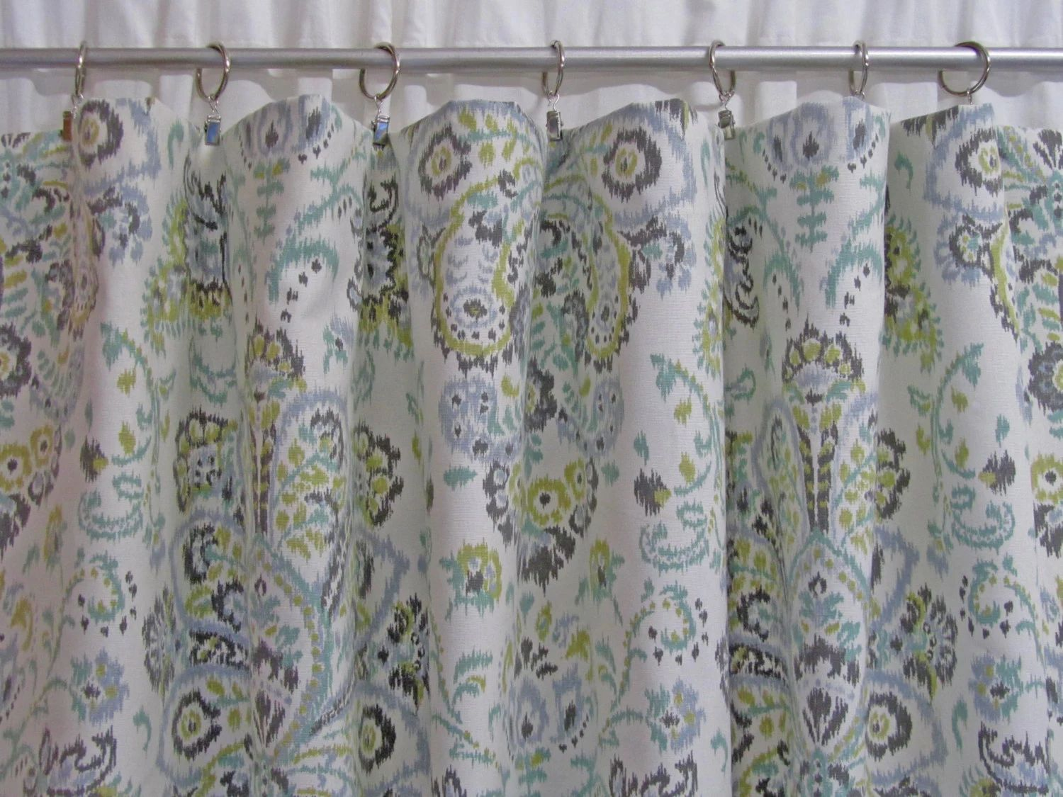Gray and white damask curtains - Pictures Gallery Of Custom Shower Curtain With Valance