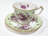 Aynsley Tea Cup and Saucer Violet Cup Tea Set Antique Tea