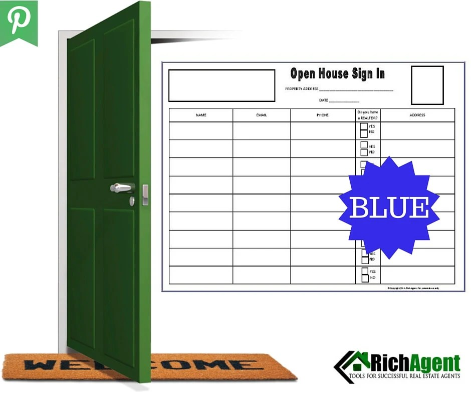 Open House Sign In Sheet Blue Real Estate Forms Open - sample open house sign in sheet template