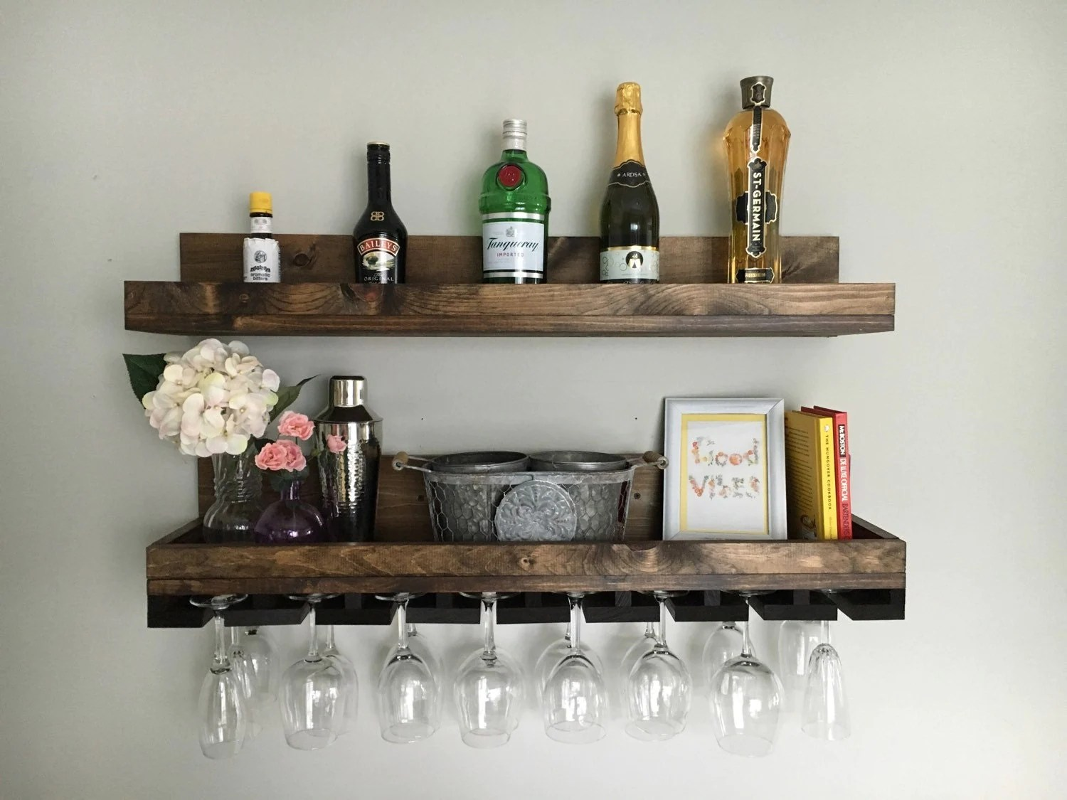 Long Wall Wine Rack 36 Long Rustic Wood Wine Rack Shelf And Hanging By
