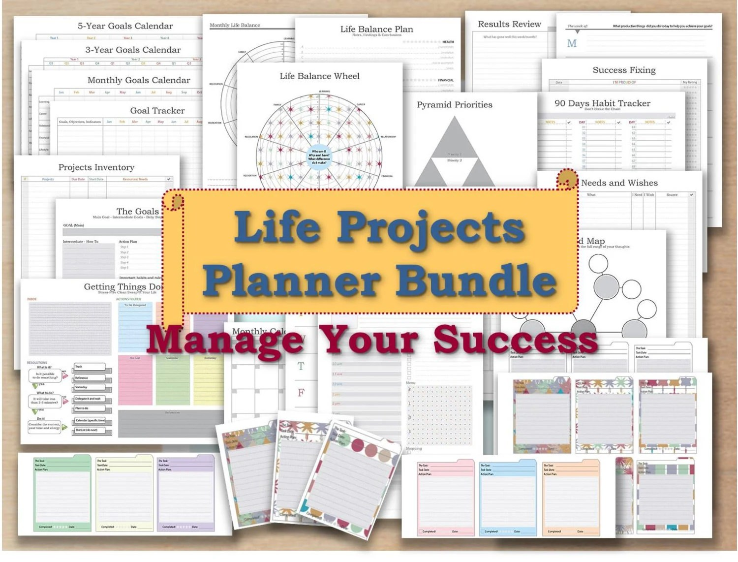 Project planner life organizer kit and cards plan template - life plan template