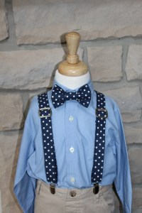 Little Boys Bow Tie and Suspender Set Navy Blue and White