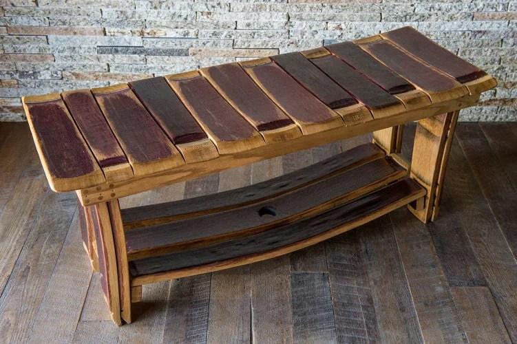 Wine Barrel Bench With Storage Shelf