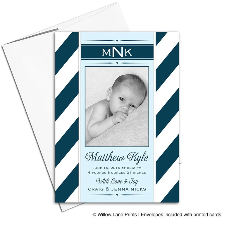 Photo birth announcement cards, boy baby announcement photo card