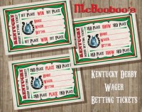 Kentucky Derby Wager Betting tickets party game Win Place