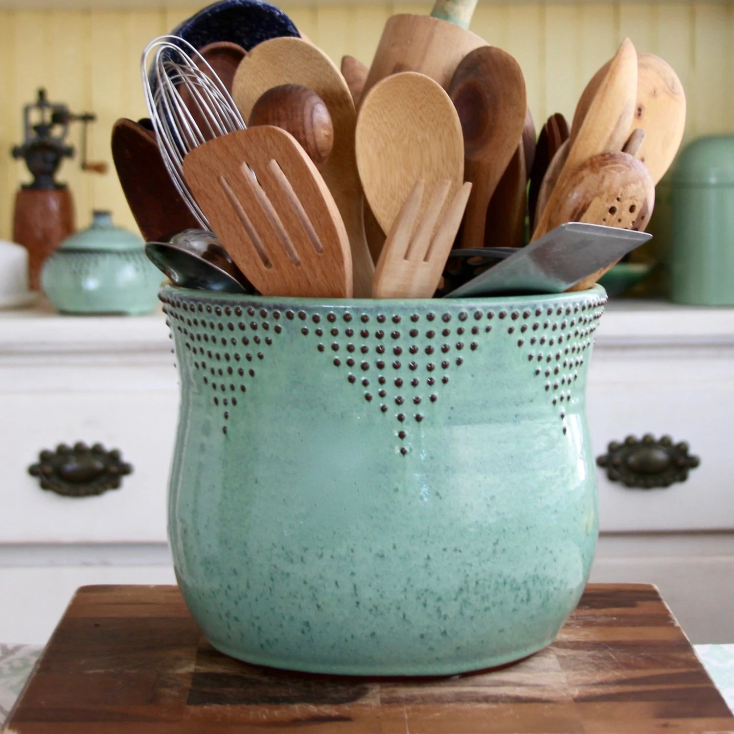 Rustic Utensil Crock Jumbo Utensil Holder Aqua Mist Flower Pot Kitchen Decor