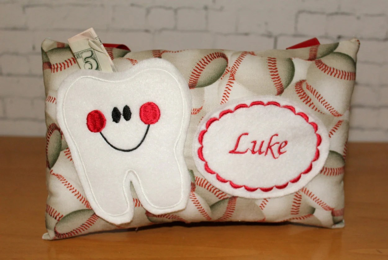 Tooth Fairy Pillow Personalized Tooth Pillow Baseball