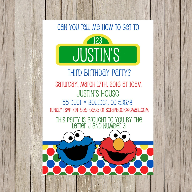 Elmo Cookie Monster Birthday Invitation Elmo By Scrapbookstyle