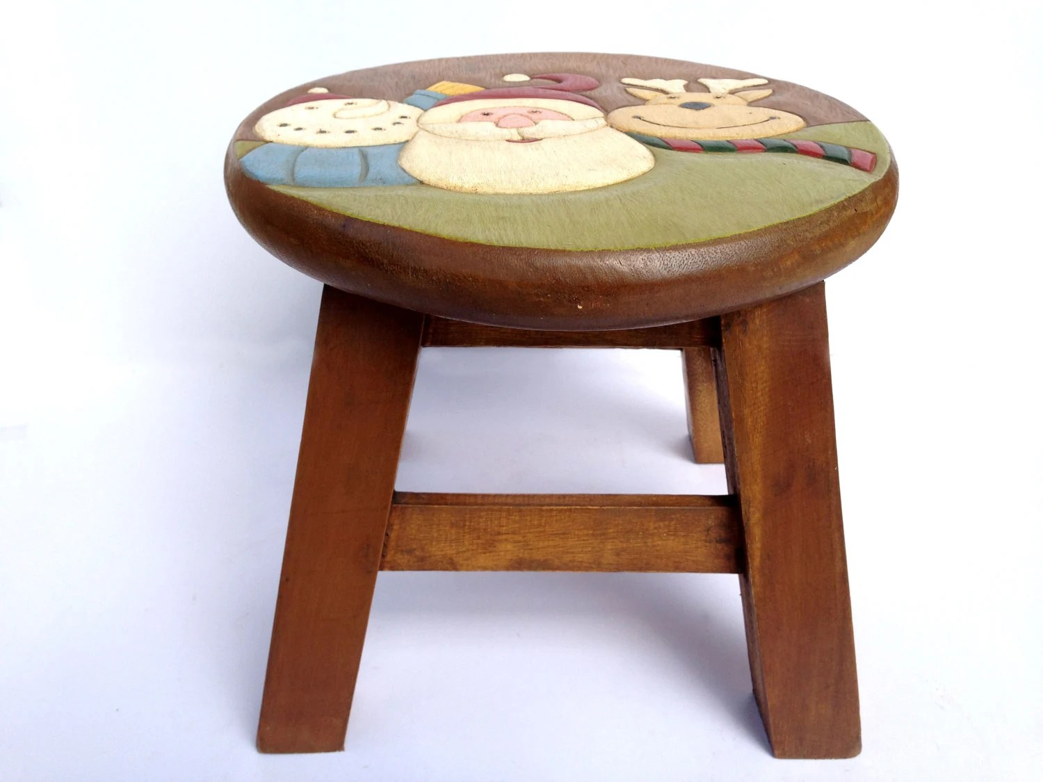 Kids Wooden Stool Santa Stool Kids Stool Sitting Stool Hand Painted Wooden Stool