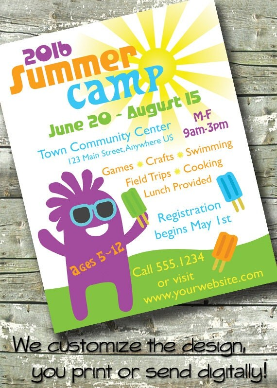 Summer Camp Kids Day Camp 5x7 Invite 85x11 Flyer - camp flyer template