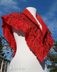 Scarf felted shawl and wrap triangle scarf red merino