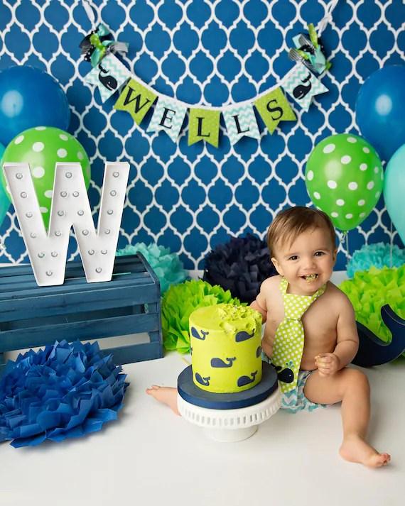 WHALE BANNER / 1st birthday boy / First Birthday Banner / 1 Year Old - first birthday banner