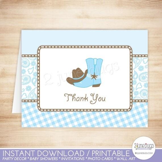Cowboy Thank You Card Template - Cowboy Folded Thank You Card - folded place card templates