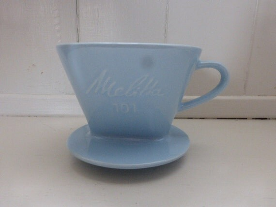 Melitta Porcelain Coffee Filter Pale Blue 1950 1960