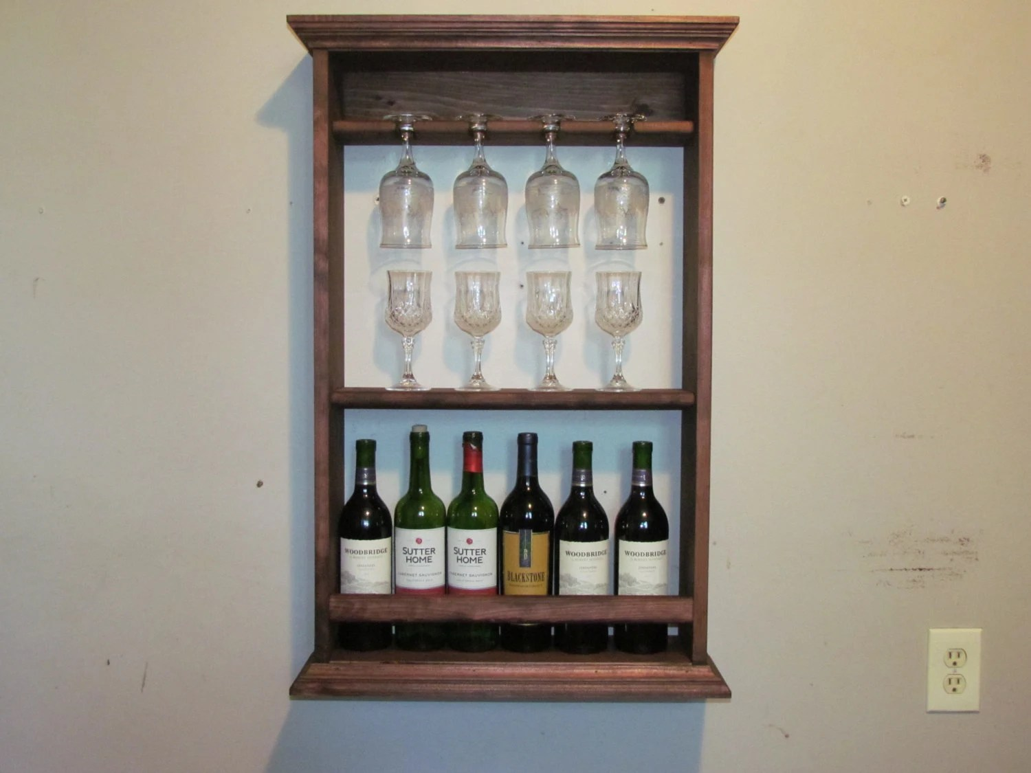 Wine Rack Red Mahogany Stain Liquor Cabinet Wall Mounted