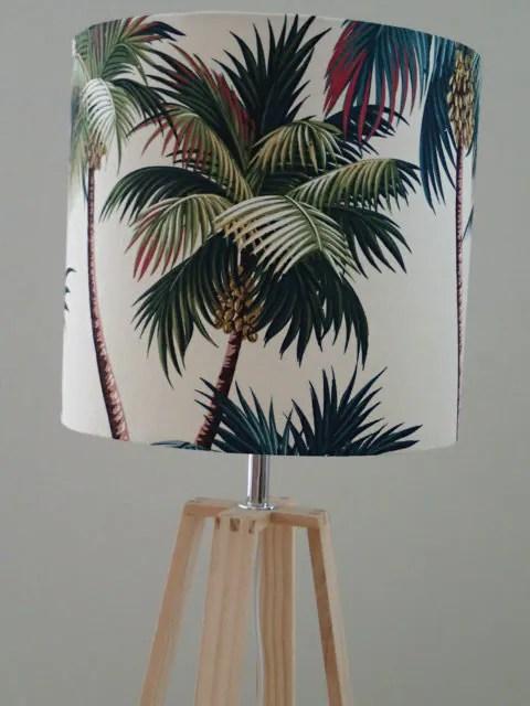 Tropical Palm Print Barkcloth Lamp Shade Hawaiian Palm Print