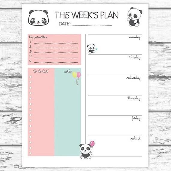 Panda Weekly Planner Weekly Agenda 2017 Printable Weekly - weekly agenda