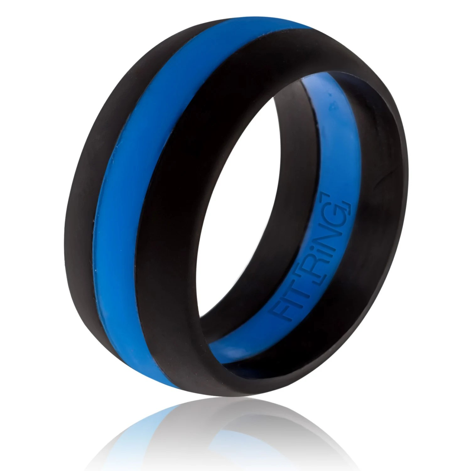 fit ring powered by arthletic mens law enforcement wedding bands Fit Ring Men s Silicone Wedding Ring Thin Blue Line Powered by Arthletic Law Enforcement Silicone Wedding Band Police Safe Rings