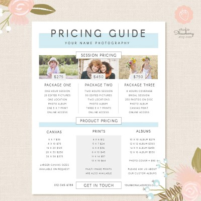Photography Pricing Template Pricing Guide Template Pricing