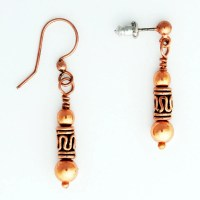 Copper Earrings With Handmade Copper Drop Pipeline Beads