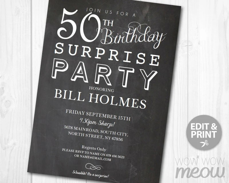 Invitation Card Edit Online 50th Surprise Birthday Invitation Chalk Board Fifty Party