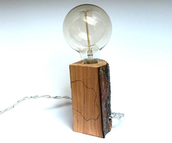 Bedside lamp Edison lamp wood design lamp rustic lamp by