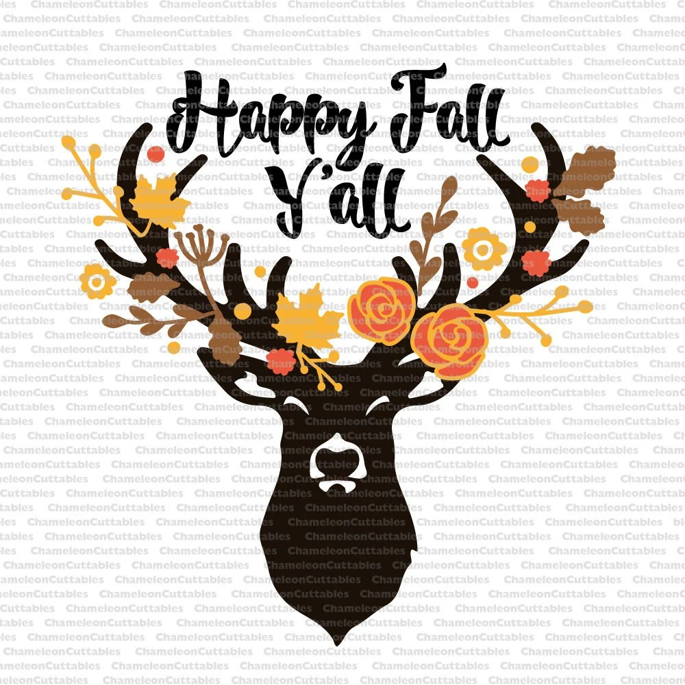 Its Fall Yall Wallpaper Happy Fall Y All Svg Deer Autumn Antlers Floral