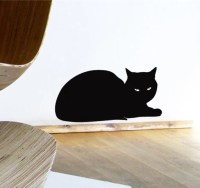 Black Cat Wall Sticker Relaxing Sphinx Cat Decal