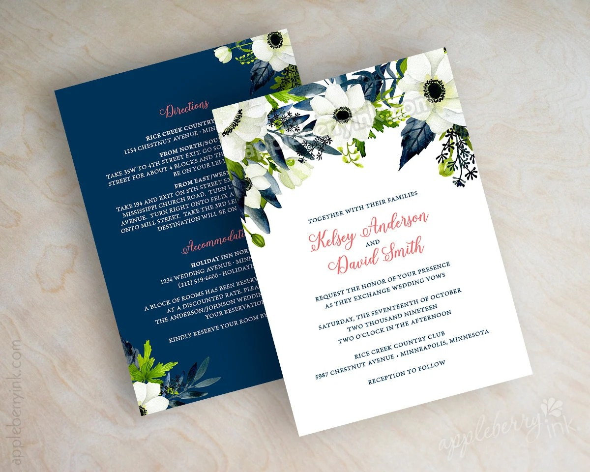 Floral Wedding Invitations Watercolor Wedding Invitation