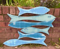 Fish Sign Wall Art Large School of 6 Six Fish Beach Lake House