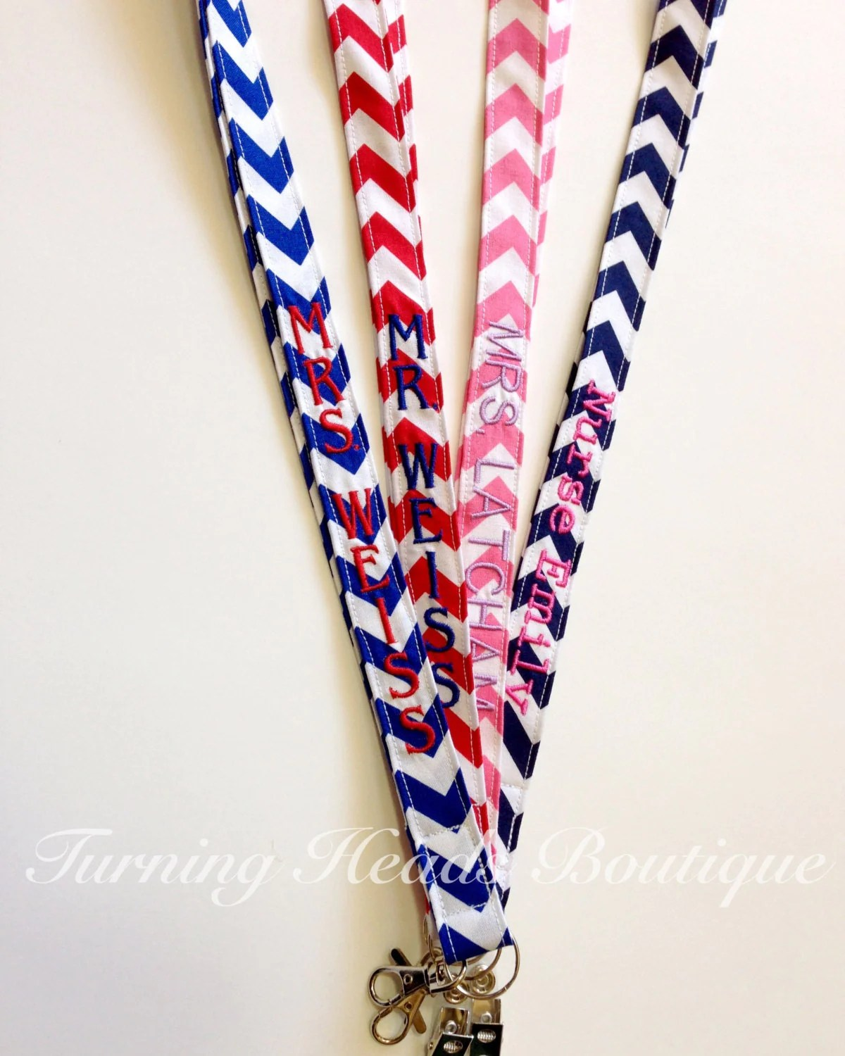 Lanyard Id Badge Holder Personalized Monogrammed Chevron