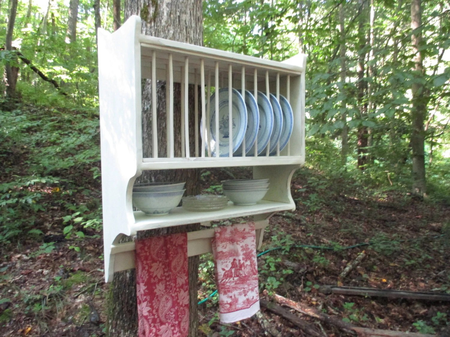 Farmhouse Plate Rack With Primitive Towel Rung Hanging Plate