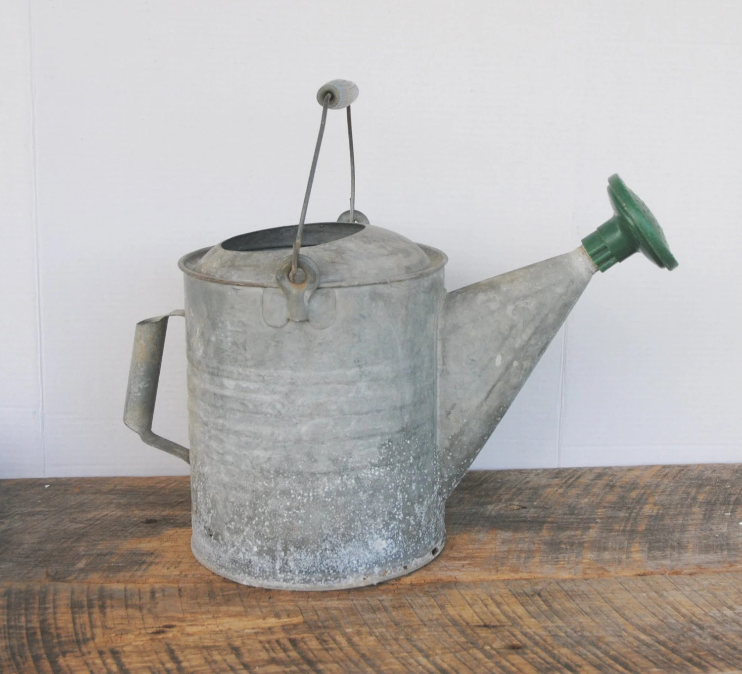 Galvanized Watering Cans Vintage Galvanized Watering Can With Wood Bead Center On