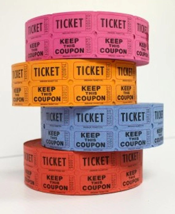 raffle tickets 2 part 100 mixed color tickets, 100 tickets by Lemon