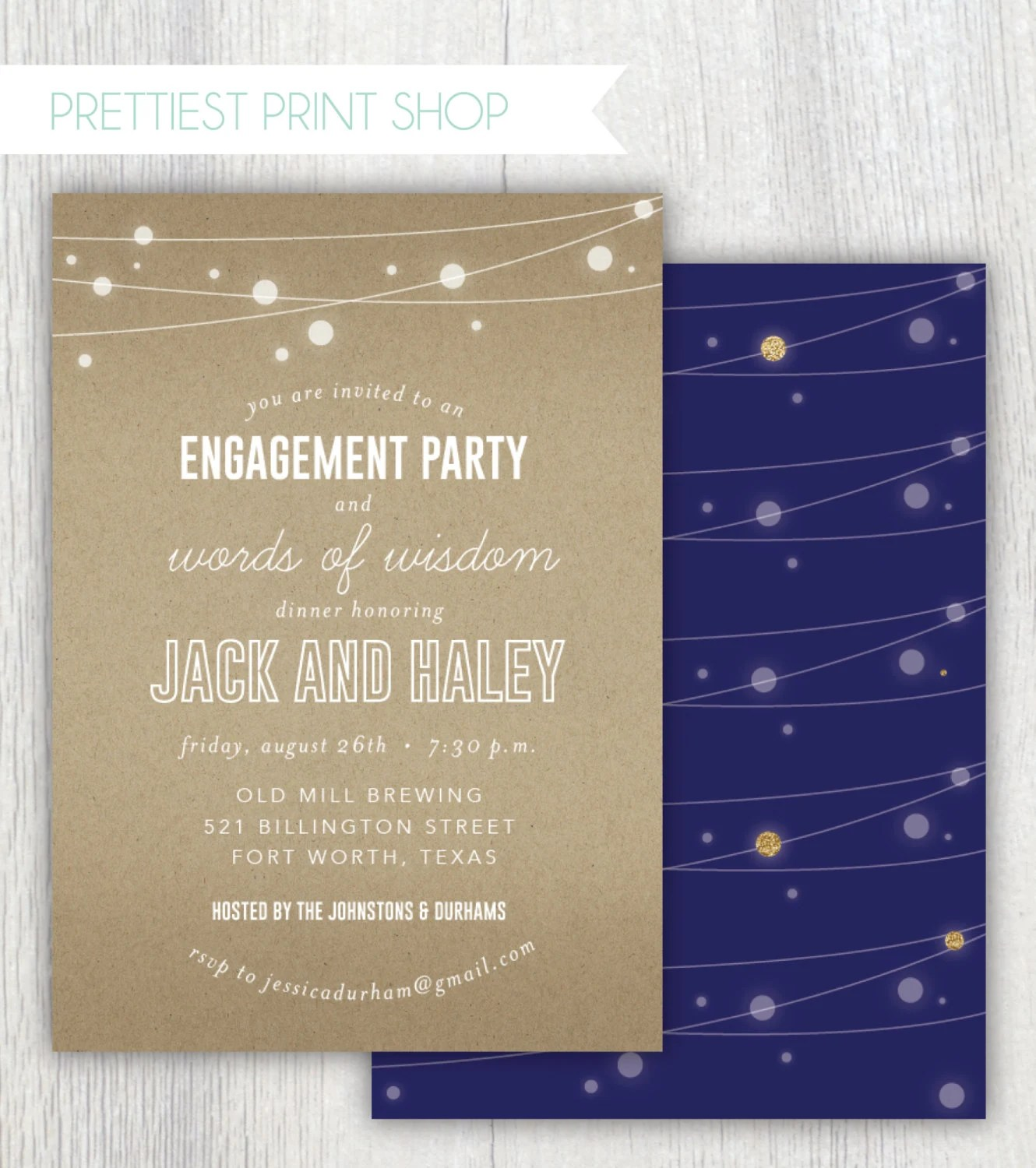 Printable engagement party invitation - Words of Wisdom dinner - engagement invitation words