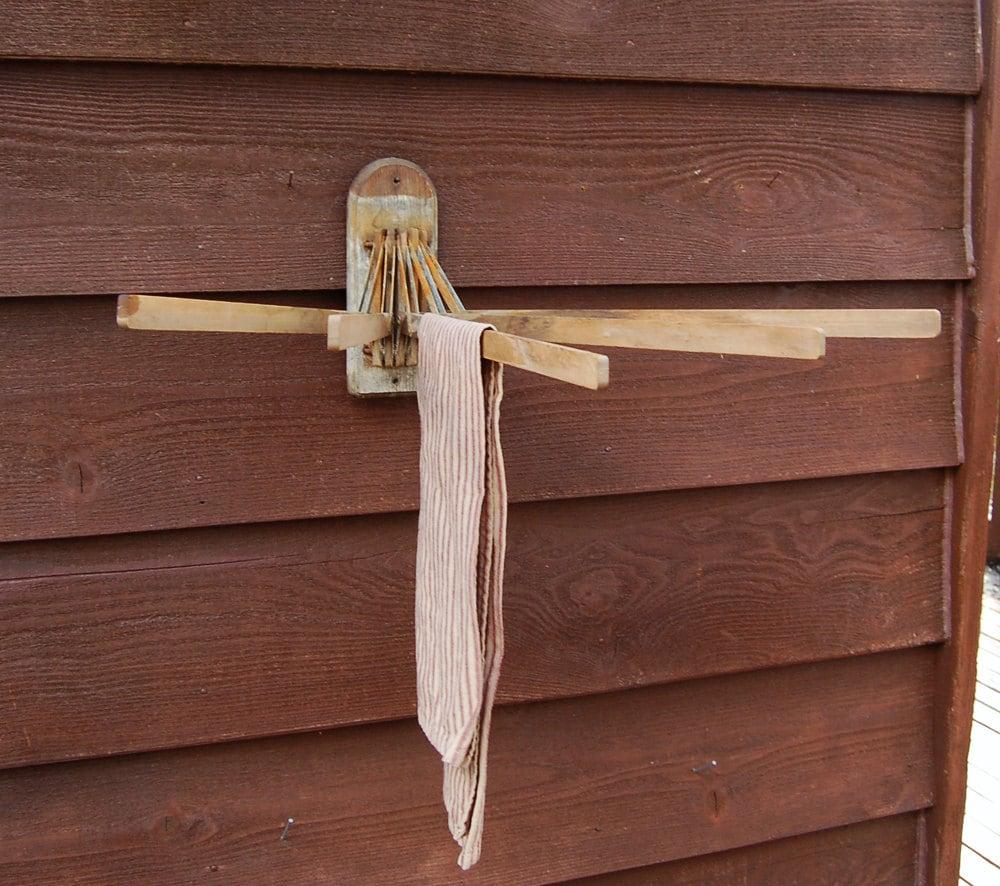Drying Rack Wall Mounted Wood 5 Arm Drying Rack Primitive