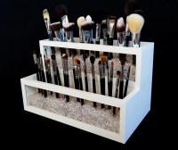 2 Tier Wood and Acrylic Makeup Brush Holder Makeup Brush