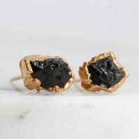 tourmaline earrings / black tourmaline / mineral by ...