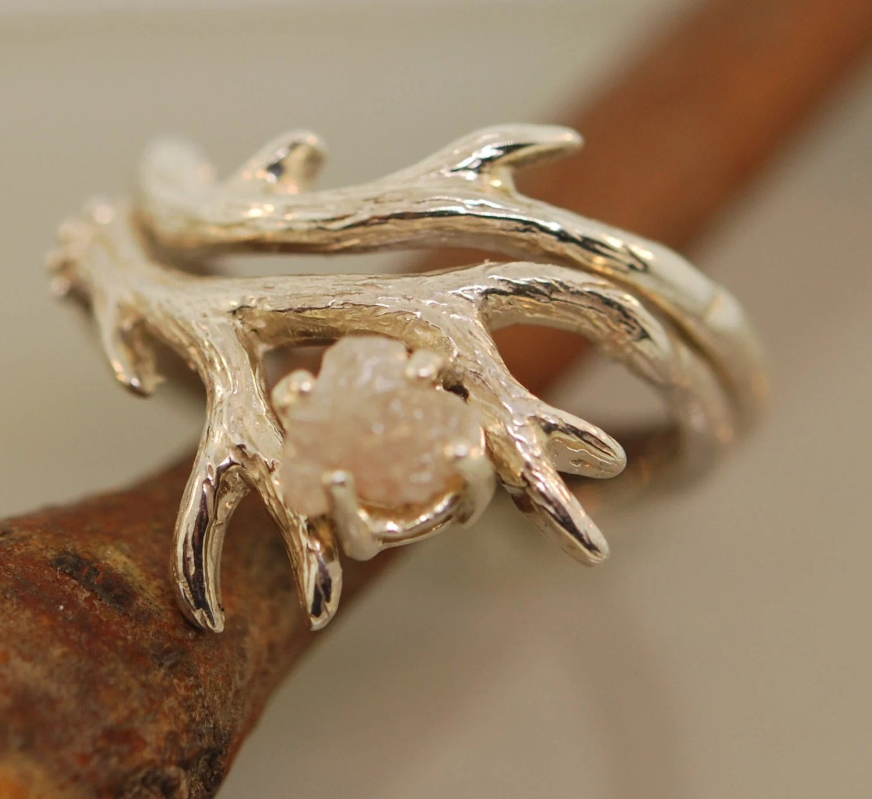 silver antler ring antler wedding ring Antler Ring 2 set with rough diamond rough diamond ring alternative engagement ring twig ring twig diamond ring antler ring